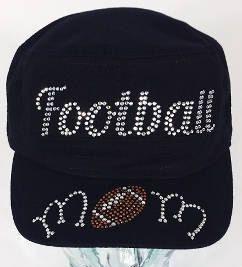 FOOTBALL CAP Mom Rhinestones Football Mom Rhinetone Ball Cap