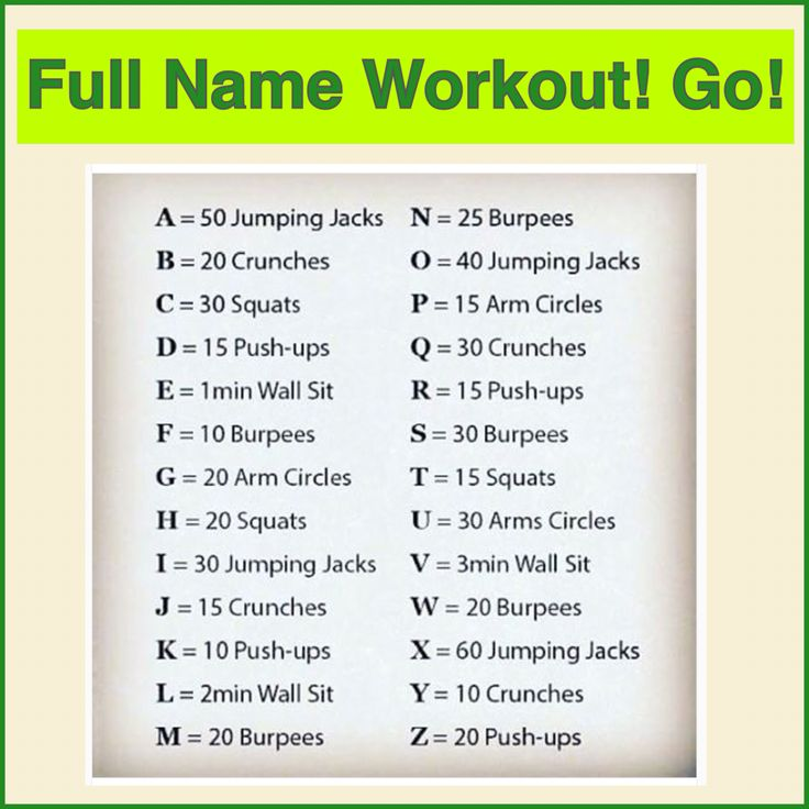 Workout List: Spell Out Your Name Using This List For A Big Workout