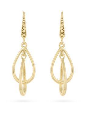 Laundry By Shelli Segal Women Gold-Tone Interlock Double Drop Earrings - Gold - One Size