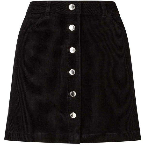 Miss Selfridge Black Cord A-Line Mini Skirt (340 SEK) ❤ liked on Polyvore featuring skirts, mini skirts, bottoms, saias, black, short cotton skirts, miss selfridge, cotton mini skirt, cotton a line skirt and short skirts