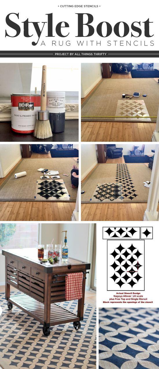 Cutting Edge Stencils shares how to DIY a stenciled rug using the Nagoya Stencil and BB Frosch Chalk Paint Powder. http://www.cuttingedgestencils.com/japanese-stencil-nagoya.html