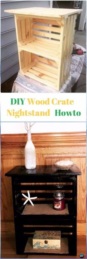 DIY Wood Crate Nightstand Instructions Video- DIY Wood Crate Furniture Ideas Projects