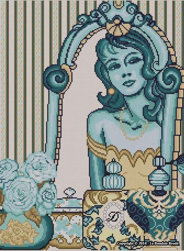 0 point de croix femme devant son mirroir - cross stitch lady in front of her mirror