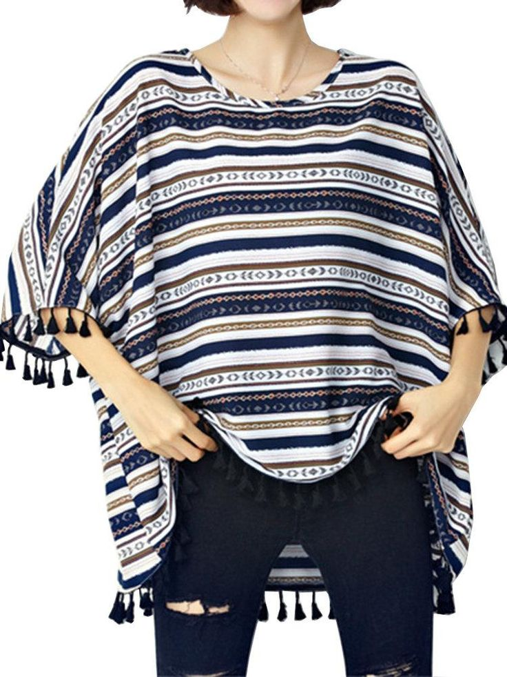 Loose Women Stripe Batwing Sleeve Tassels Irregular T-shirt