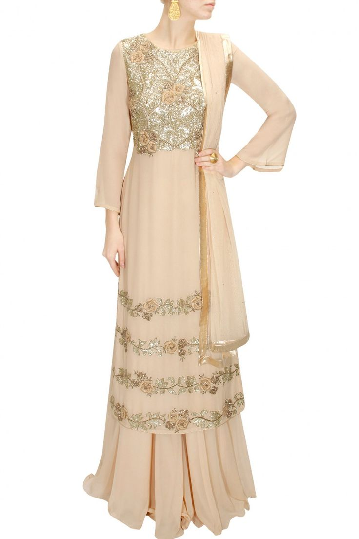 DRAPE 'N' DRAMA : Beige sequins and dabka embroidered sharara set by J by Jannat. Shop at www.perniaspopups.... #designer #jbyjannat #festive #couture #shopnow #perniaspopupshop #happyshopping