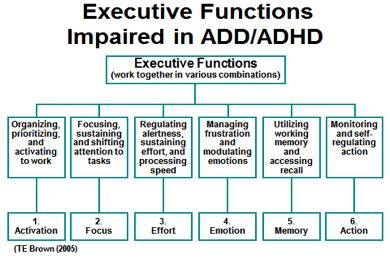 """The Brown Model of ADHD - """"Most children, adolescents and adults with ADHD report these six clusters of impairments as chronic, to a degree markedly greater than persons without ADHD. The clusters are not mutually exclusive categories; they tend to overlap and are often interactive. Executive Functions impaired in ADHD are complex and multi-faceted."""""""