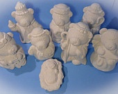 Ceramic Unpainted Nativity Bear Set of 8 - hand made, Christmas, ready to paint