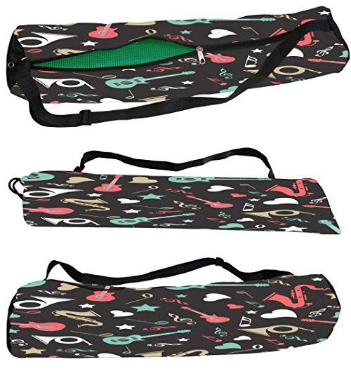 Snoogg Colorful Instruments Canvas Yoga Bag Peace Beautifully Crafted for Extra Wide Yoga Mat and Gym Mat up to a height of 186 x 63 x 0.6 cm 7000 Various Premium Designs Available.