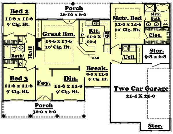 European Style House Plan 3 Beds 2 Baths 1600 Sq Ft Plan 430 19 Basement House Plans House Plans One Story Country Style House Plans