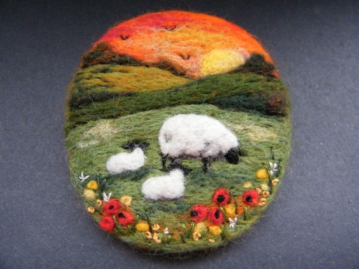 Handmade needle felted brooch/Gift       Sunset Meadow     by Tracey Dunn