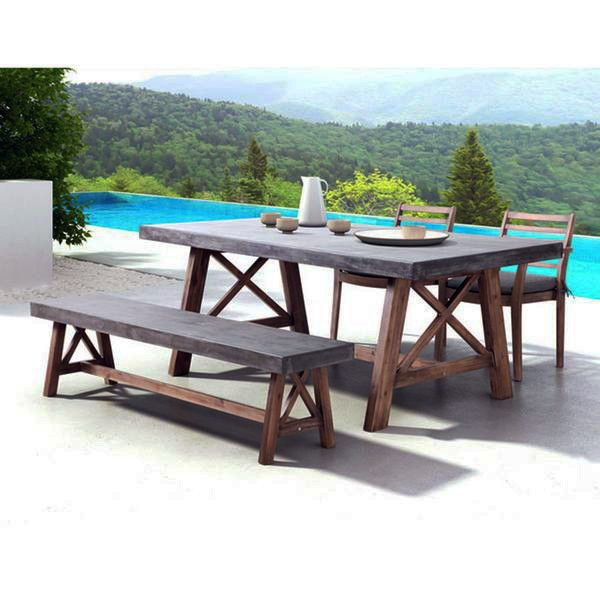 Industrial Outdoor 4-Piece Dining Set – Cement & Wood