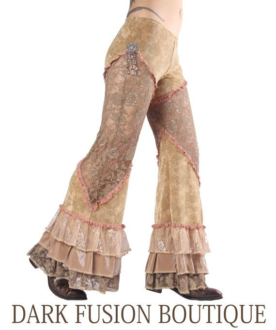 Pants, Creams and Sepias, Stretch, Nouveau, Dance, Ruffles, Circus, Steampunk,Tribal, Bellydance, Dark Fusion Boutique