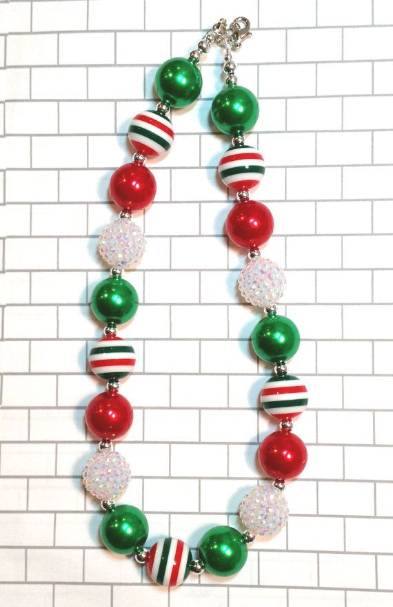 bubblegum necklace holiday necklace Christmas chunky Necklace Red white and silver chunky necklace red and white necklace school spirit