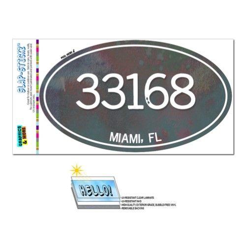33168 Miami, FL - Unisex Metal - Oval Zip Code Sticker