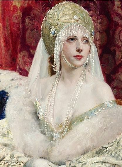 Russian costume in painting. Herman Richir. The Snow Fairy. 1918. #art #painting #Russian #costume