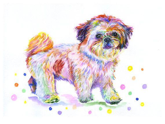 SHIH TZU Dog Canvas Print Watercolor Painting by ElenTsArt