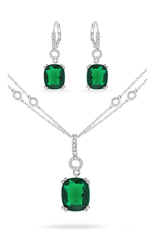 White Gold Emerald Elizabeth Necklace Set on Emma Stine Limited