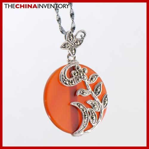 LADY 925 STERLING SILVER AGATE FLOWER PENDANT SIL2507