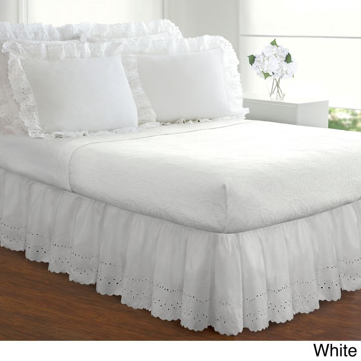 Update your bedding easily with this Lauren eyelet bed skirt. This ruffled bed skirt features a polyester and cotton blend for a soft durability, and the heirloom poplin skirt has an 18-inch drop to g