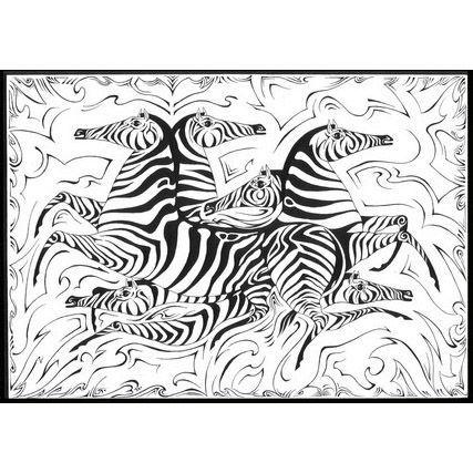 Чёрно-белый ковер Табун зебр Safari #ковер #дизайн