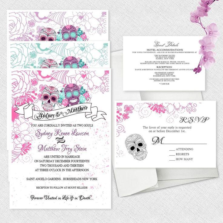 Sugar Skull Wedding Invitations Day Of The Dead Invitation Dia De Los Muertos #newyorkinvitations