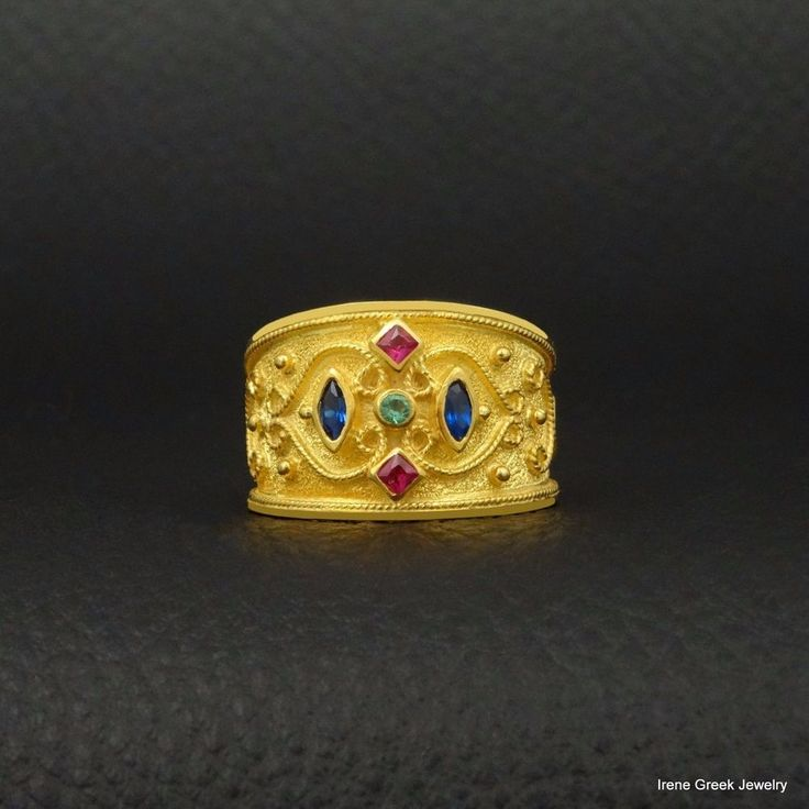 RUBY EMERALD SAPPHIRE BYZANTINE 925 STERLING SILVER 22K GOLD PLATED GREEK RING #IreneGreekJewelry #Band