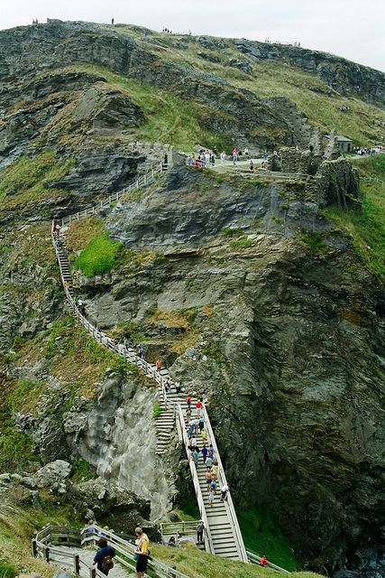 Tintagel stairs, The village and nearby Tintagel Castle are associated with the legends surrounding King Arthur and the knights of the Round Table.