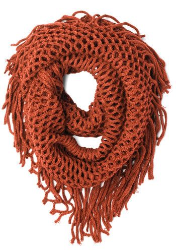 Show and Trellis Scarf in Orange - Knit, Orange, Solid, Fringed, Casual, Fall, Variation, Sheer, Winter