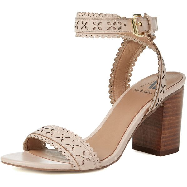 40daa0d3917 Ava   Aiden Skylar Laser-Cut Block Heel Sandal found on Polyvore ...
