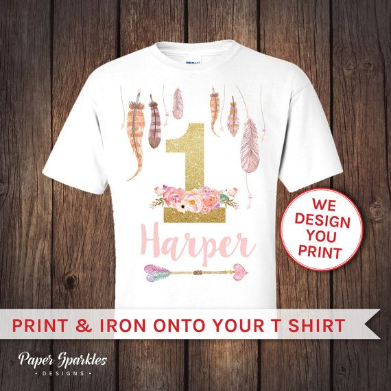 Feather t shirt transfer First birthday by PaperSparkleDesigns