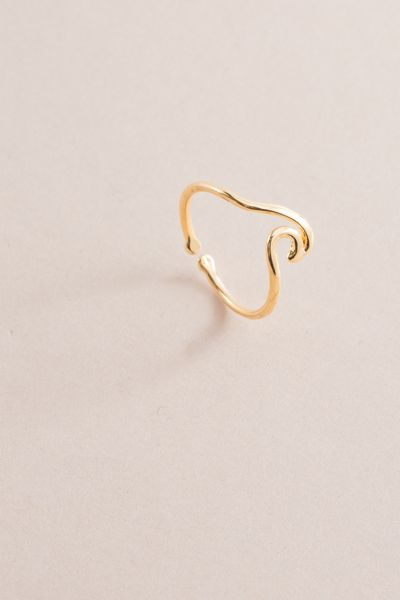 Wave Rider Ring   Gold $14 // Golden wave outline charm ring with an adjustable fit.