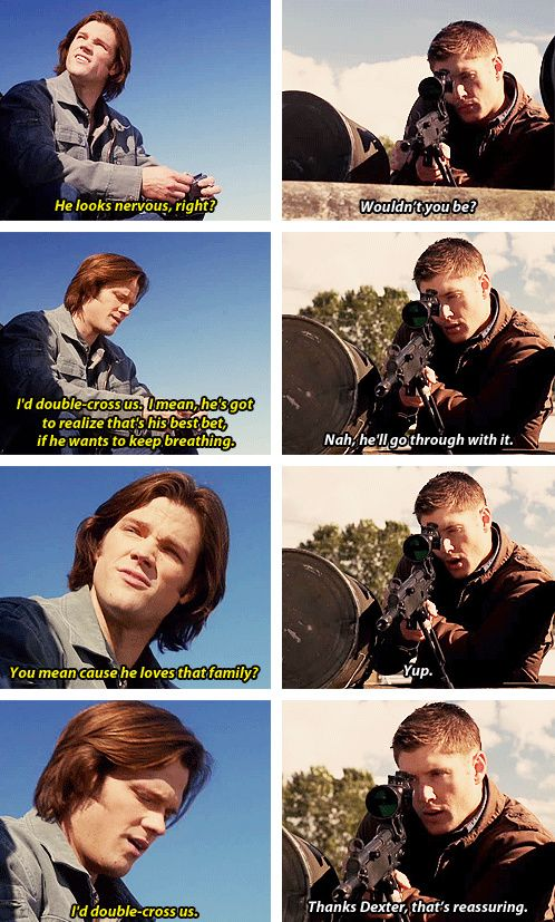 Thanks Dexter... lol [gifset] 6x08 All Dogs Go To Heaven #SPN #Dean #SoullessSam