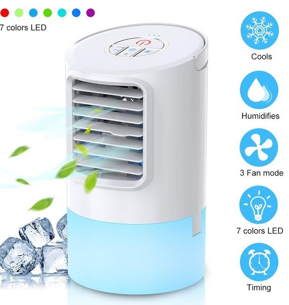 Mkocean Personal Air Cooler Mini Space Cooler Desktop Air Conditioning Fan With 3 Wind Speeds Compact Evaporative Air Cooler Air Cooler Air Conditioning Fan