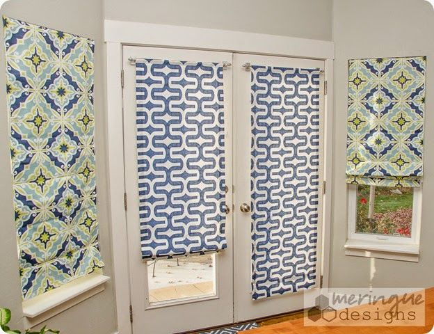 Roman Shades for French Doors-tutorial