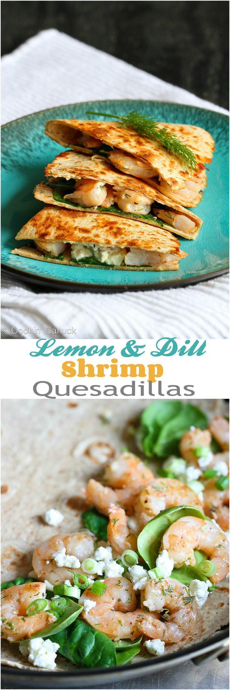 Lemon Dill Shrimp Quesadilla Recipe...257 calories and 6 Weight Watchers PP   cookincanuck.com #healthy