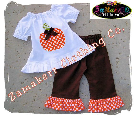 LOVE!!  Fall Thanksgiving Pumpkin Outfit Custom Boutique Clothing Peasant Top Ruffle Pant Set 3 6 9 12 18 24 month size 2T 2 3T 3 4T 4 5T 5 6 7 8. $43.99, via Etsy.