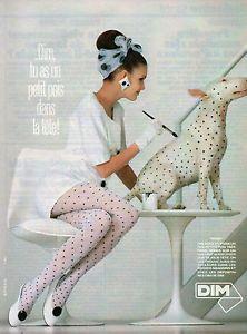 """Publicité 1986 Lingerie DIM Collants BAS Sous Vetement """"Pois""""   eBay"""