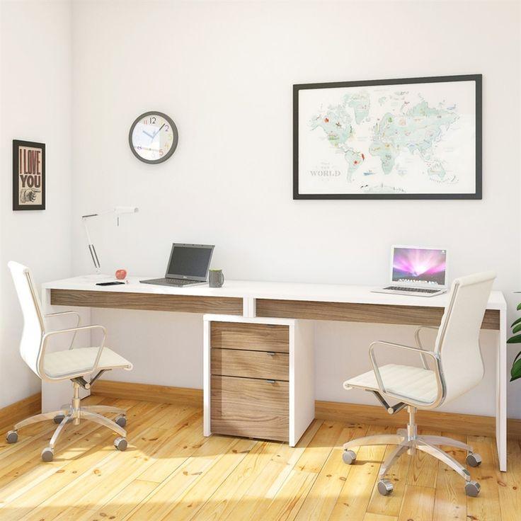 Nexera Liber-T White/Walnut Computer Desk