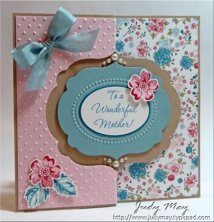Front  As I mentioned in my previous post, I decided to try another 'flip' card, this time using the Labels Framelits to cut the shape.   I've created another Mother's Day card, this time using the 'Twitterpated' DSP and coordinating colours.  The 'Wonderful Mother' sentiments in Island Indigo and punched them out with the wide oval punch.