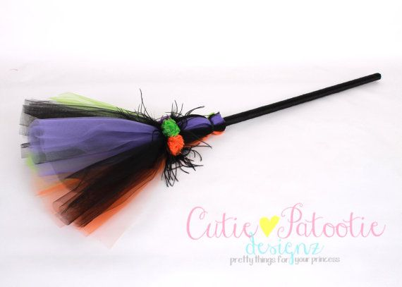 Twinkling Trickster Broomstick - Halloween Witch Costume Accessory: Child Size - Cutie Patootie Designz