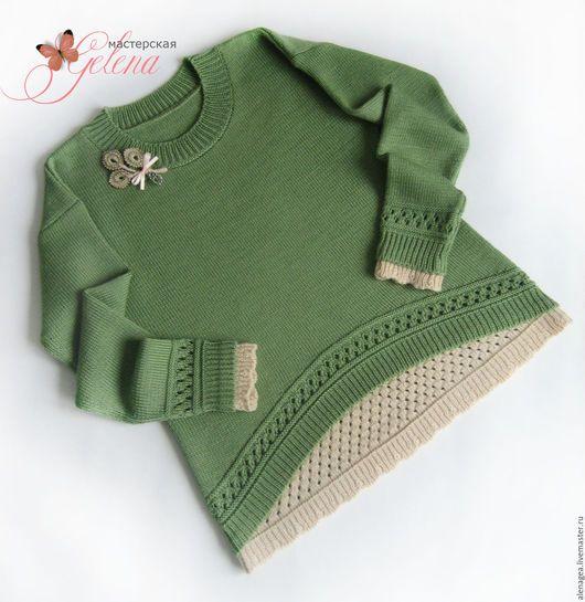 """Одежда для девочек, ручной работы. Ярмарка Мастеров - ручная работа. Купить Пуловер для девочки """"Лесная фея"""". Handmade. Оливковый"""