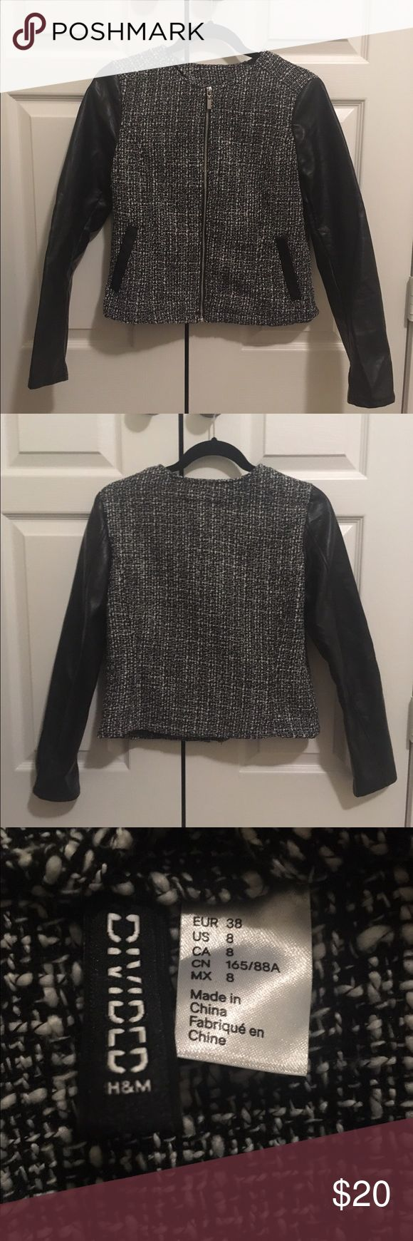 Pleather Sleeve Jacket This is an amazing jacket to make any casual outfit a bit more formal... but not too formal! This jacket is definitely something that someone would want to wear to go out for a nice dinner and drinks with your girls! Divided Jackets & Coats