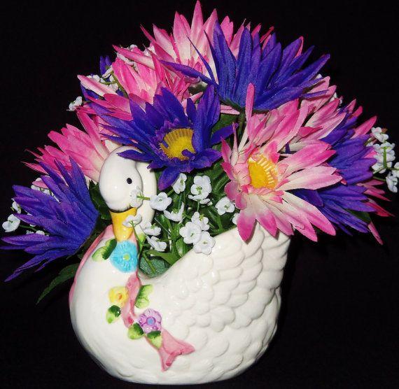 Gerbera Daisy Arrangements Vases: Silk Flower Arrangement, Purple & Pink Gerbera Daisies