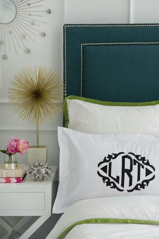 monogram pillow sham, nailhead upholstered headboard, starburst statue, urchin