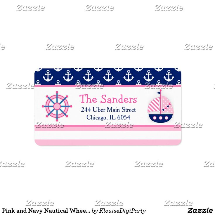 Pink and Navy Nautical Wheel Baby Shower Label