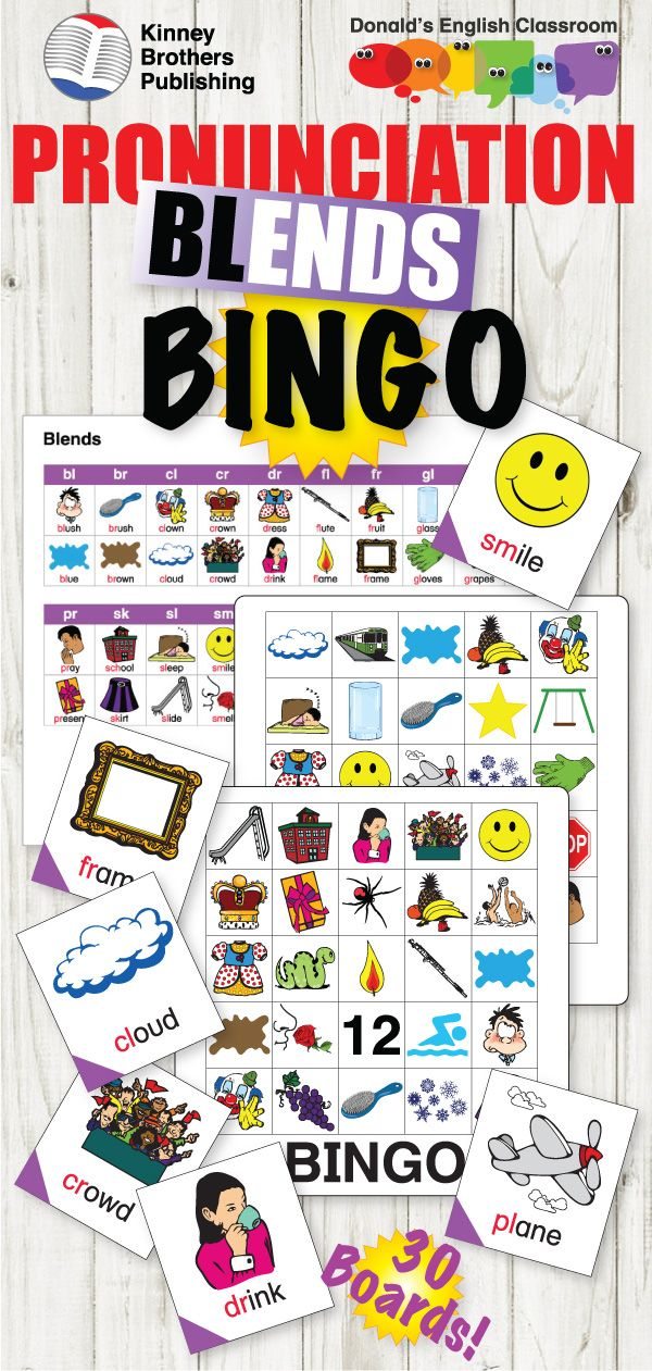 ESL Pronunciation Bingo - Blends | ESL EFL ELL Teaching