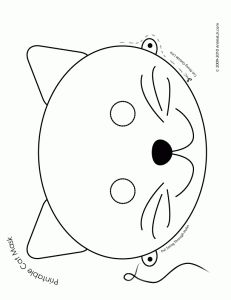 printable cat mask coloring 231x300 Halloween Animal Masks to Print  ☀CQ #halloween #costumes