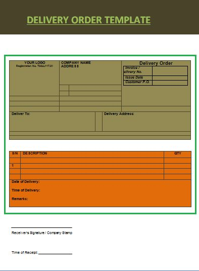 product delivery order template