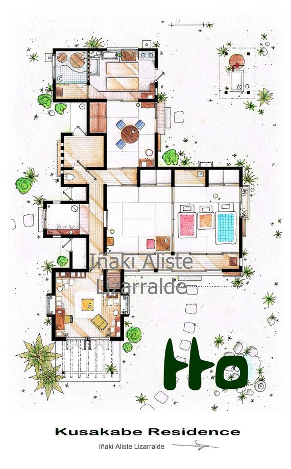 Kusakabe Residence from Tonari no Totoro by TVFLOORPLANSandMORE, €100.00