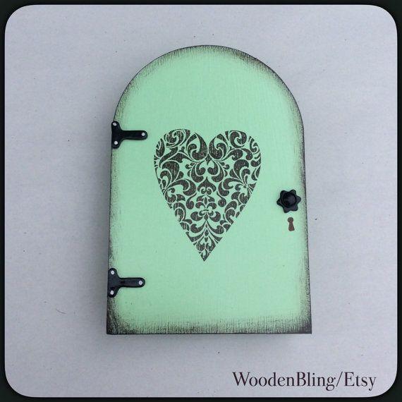 Groene Fairy deur Fairy Tuin Tuin Decor hart boom muur